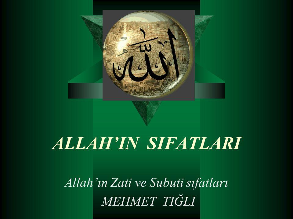 ALLAH'IN SIFATLARI Allah'ın Zati ve Subuti sıfatları MEHMET TIĞLI