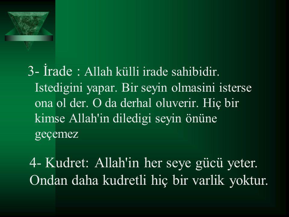 5- Sem (işitme) : Allah isitir.Isitmek için kulaga ve sese ihtiyaci yoktur.