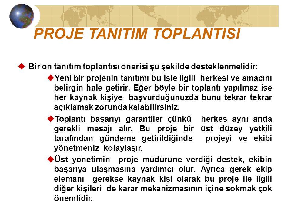 PROJE TANITIM TOPLANTISI uBir ön tanıtım toplantısı önerisi şu şekilde desteklenmelidir: uYeni bir projenin tanıtımı bu işle ilgili herkesi ve amacını belirgin hale getirir.