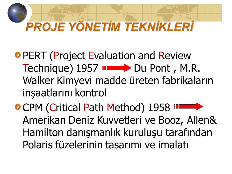 PROJE YÖNETİM TEKNİKLERİ PERT (Project Evaluation and Review Technique) 1957 Du Pont, M.R.