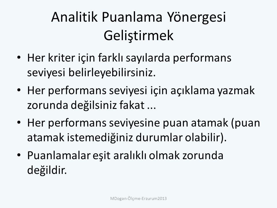 Analitik Puanlama Yönergesi Geliştirmek Her kriter için farklı sayılarda performans seviyesi belirleyebilirsiniz.