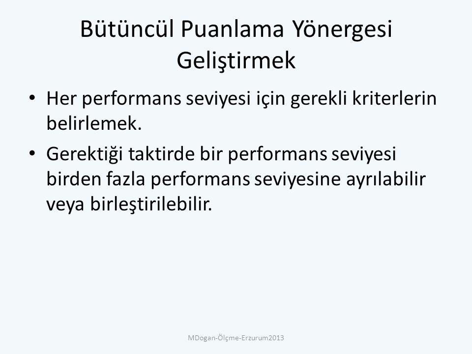 Bütüncül Puanlama Yönergesi Geliştirmek Her performans seviyesi için gerekli kriterlerin belirlemek.