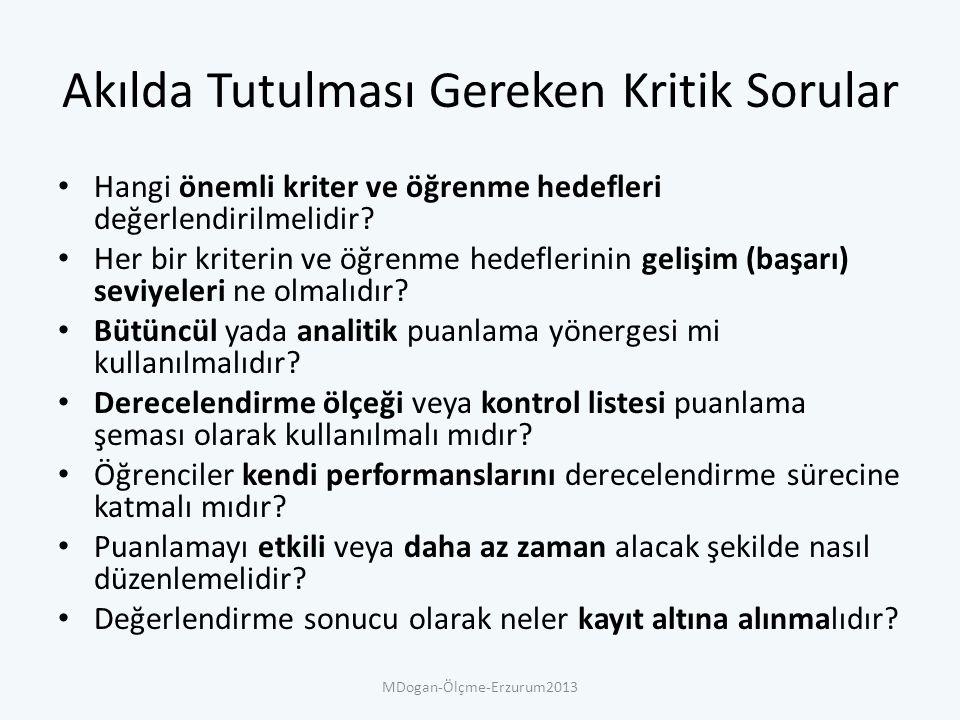 Puanlama Yönerge Türleri Analitik puanlama yönergeleri (APY) Bütüncül puanlama yönergeleri (BPY) MDogan-Ölçme-Erzurum2013