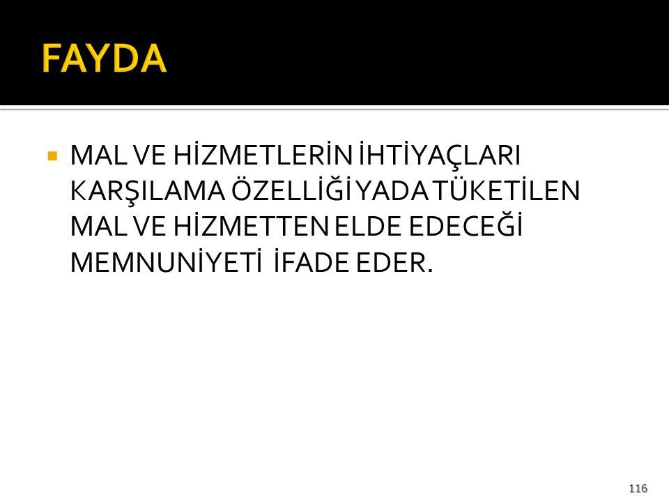 FAYDA VE TÜKETİCİ DENGESİ 115
