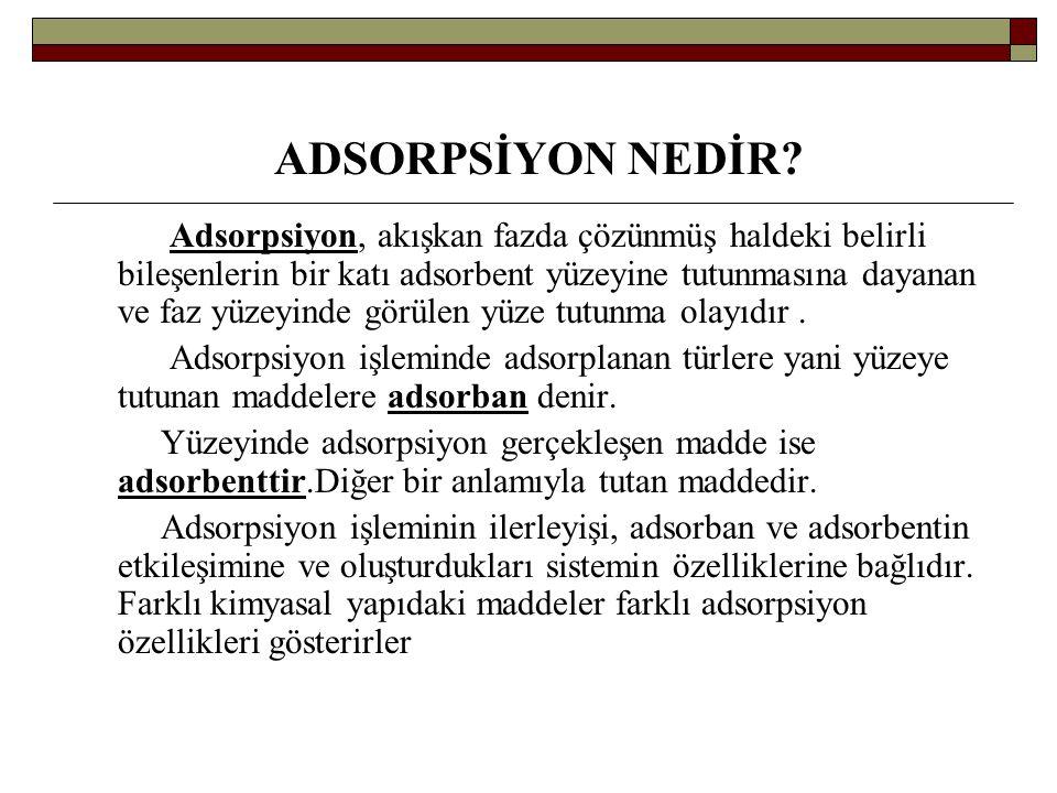 ADSORPSİYON NEDİR? Adsorpsiyon, akışkan fazda çözünmüş haldeki belirli bileşenlerin bir katı adsorbent yüzeyine tutunmasına dayanan ve faz yüzeyinde g