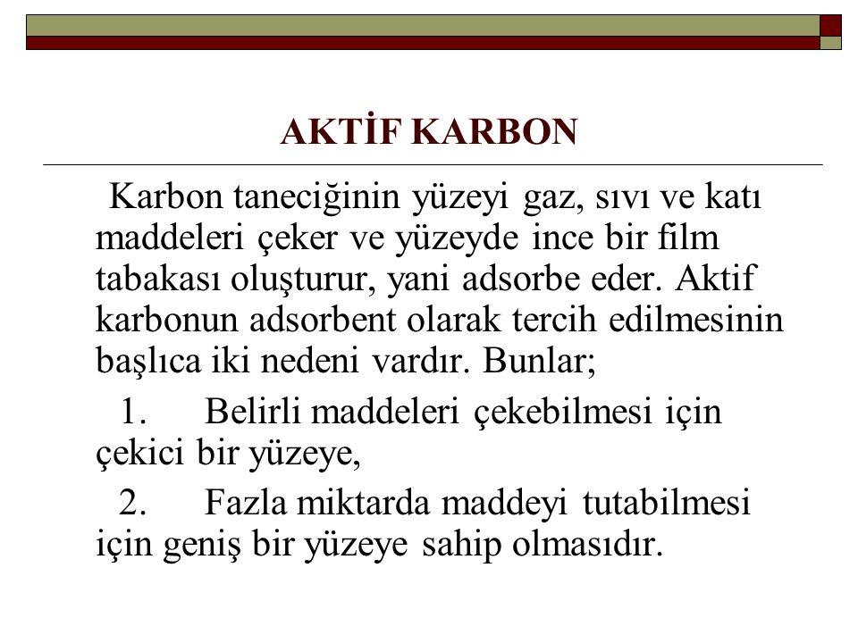 AKTİF KARBON Karbon taneciğinin yüzeyi gaz, sıvı ve katı maddeleri çeker ve yüzeyde ince bir film tabakası oluşturur, yani adsorbe eder. Aktif karbonu