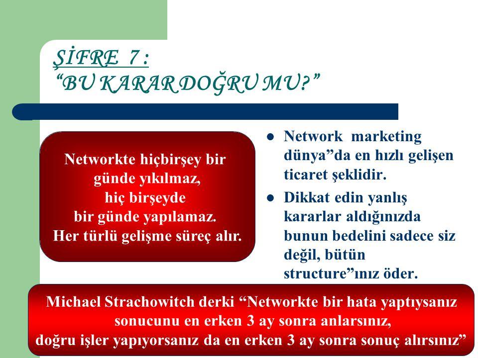 """ŞİFRE 7 : """"BU KARAR DOĞRU MU?"""" Network marketing dünya""""da en hızlı gelişen ticaret şeklidir. Dikkat edin yanlış kararlar aldığınızda bunun bedelini sa"""