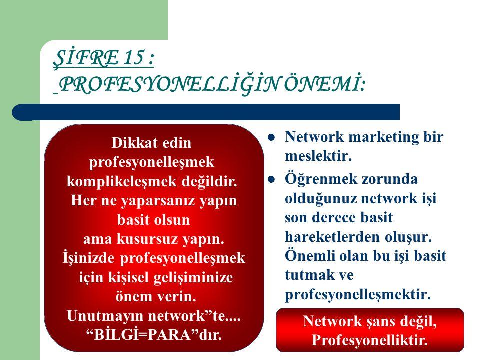 ŞİFRE 15 : PROFESYONELLİĞİN ÖNEMİ: Network marketing bir meslektir. Öğrenmek zorunda olduğunuz network işi son derece basit hareketlerden oluşur. Önem