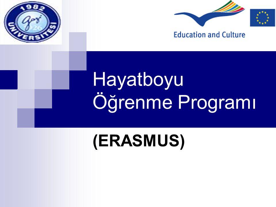 Avrupa Birliği Eğitim ve Gençlik Programları Gençlik Programları Sokrates (genel eğitim) Erasmus Comenıus Comenıus Grundtving Mınerva Lingua Gözlem ve yenilikler Ortak Faaliyetler Destek Faaliyetler Leonardo Da Vinci (mesleki eğitim, yaşam boyu eğitim) A Tipi Projeler B ve C tipi Projeler Gençlik (15-25 yaş Eylem 1 Eylem 2 Eylem 3 Eylem 4 Eylem 5