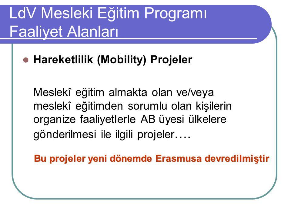 LdV Mesleki Eğitim Programı Faaliyet Alanları Hareketlilik (Mobility) Projeler Meslekî eğitim almakta olan ve/veya meslekî eğitimden sorumlu olan kişilerin organize faaliyetlerle AB üyesi ülkelere gönderilmesi ile ilgili projeler ….