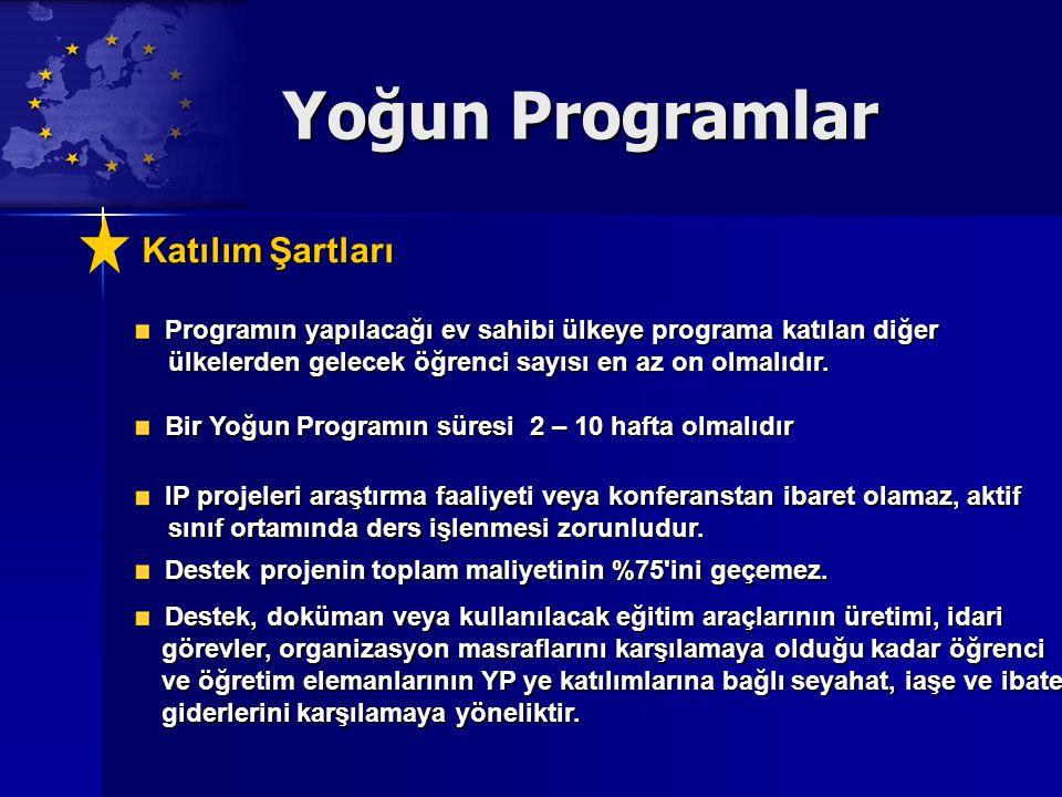 Yoğun Programlar Katılım Şartları Katılım Şartları Programın yapılacağı ev sahibi ülkeye programa katılan diğer Programın yapılacağı ev sahibi ülkeye