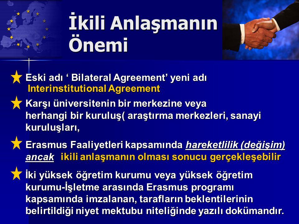 İkili Anlaşmanın Önemi Erasmus Faaliyetleri kapsamında hareketlilik (değişim) ancak ikili anlaşmanın olması sonucu gerçekleşebilir İki yüksek öğretim