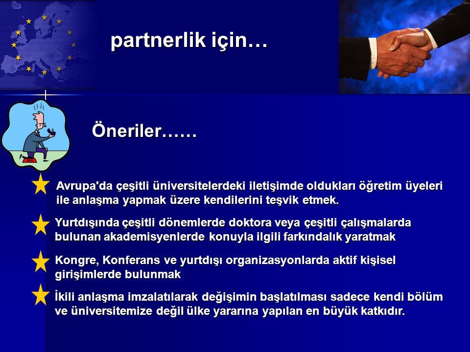 partnerlik için… Öneriler…… Avrupa da çeşitli üniversitelerdeki iletişimde oldukları öğretim üyeleri ile anlaşma yapmak üzere kendilerini teşvik etmek.