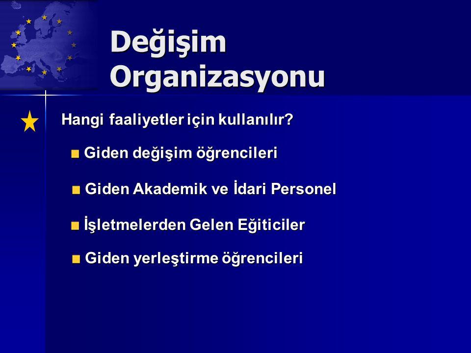 Değişim Organizasyonu Hangi faaliyetler için kullanılır.