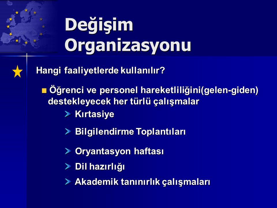 Değişim Organizasyonu Hangi faaliyetlerde kullanılır.
