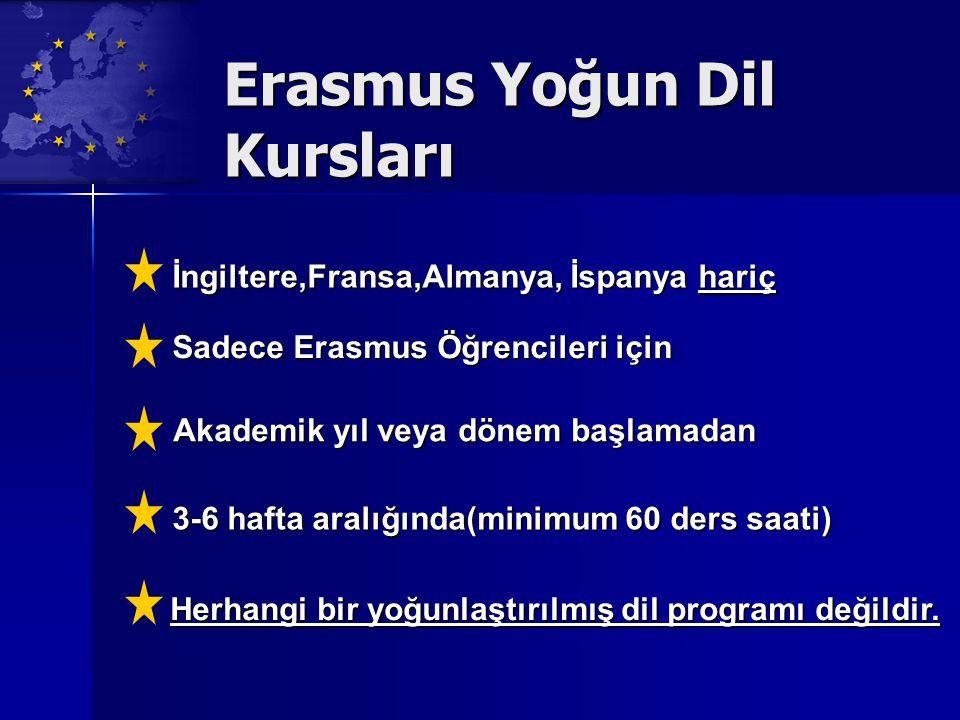 Erasmus Yoğun Dil Kursları İngiltere,Fransa,Almanya, İspanya hariç 3-6 hafta aralığında(minimum 60 ders saati) Sadece Erasmus Öğrencileri için Akademik yıl veya dönem başlamadan Herhangi bir yoğunlaştırılmış dil programı değildir.
