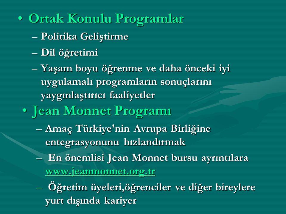 Ortak Konulu ProgramlarOrtak Konulu Programlar –Politika Geliştirme –Dil öğretimi –Yaşam boyu öğrenme ve daha önceki iyi uygulamalı programların sonuçlarını yaygınlaştırıcı faaliyetler Jean Monnet Programı –Amaç Türkiye nin Avrupa Birliğine entegrasyonunu hızlandırmak – En önemlisi Jean Monnet bursu ayrıntılara www.jeanmonnet.org.tr www.jeanmonnet.org.tr – Öğretim üyeleri,öğrenciler ve diğer bireylere yurt dışında kariyer