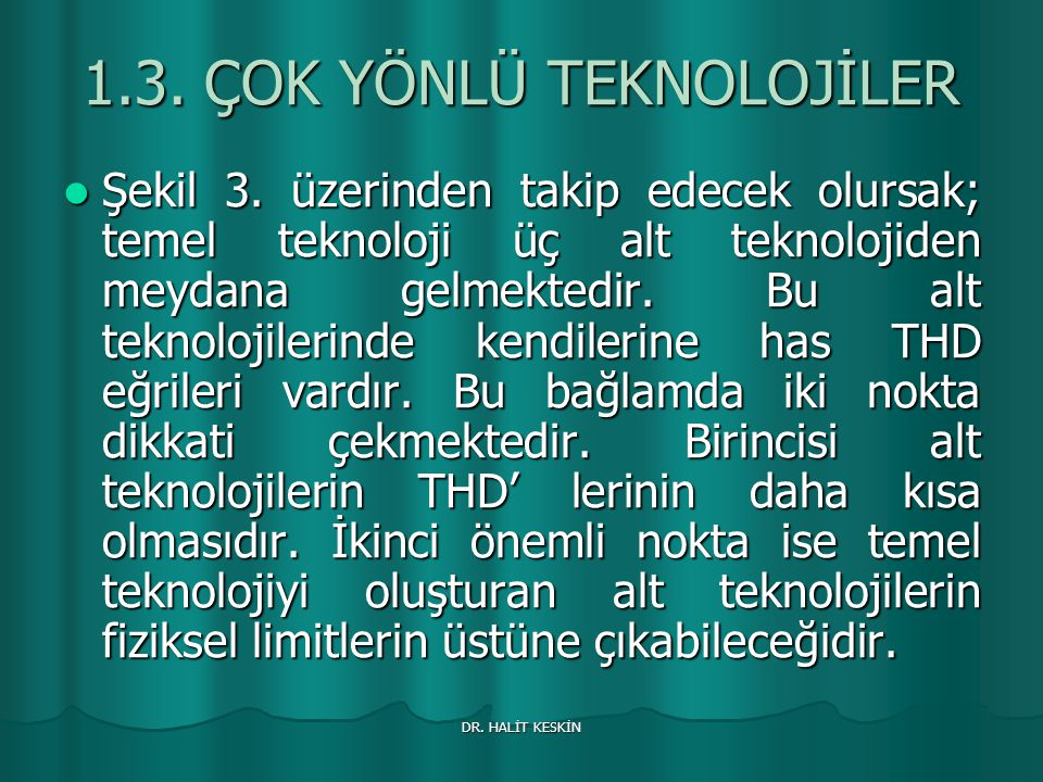 DR.HALİT KESKİN 1.3. ÇOK YÖNLÜ TEKNOLOJİLER Şekil 3.