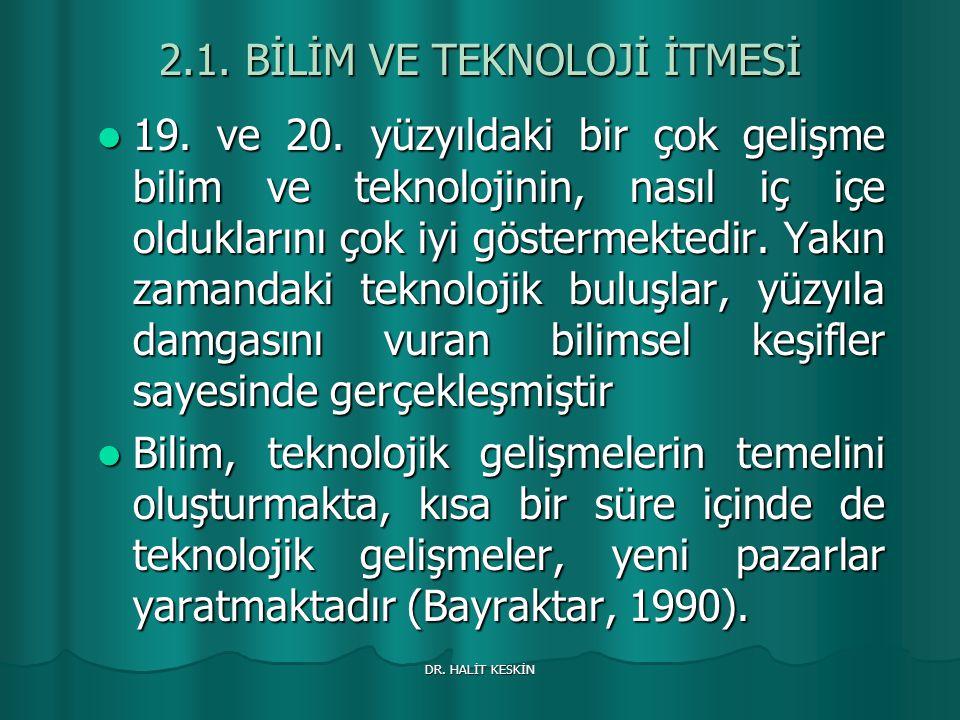 DR.HALİT KESKİN 2.1. BİLİM VE TEKNOLOJİ İTMESİ 19.