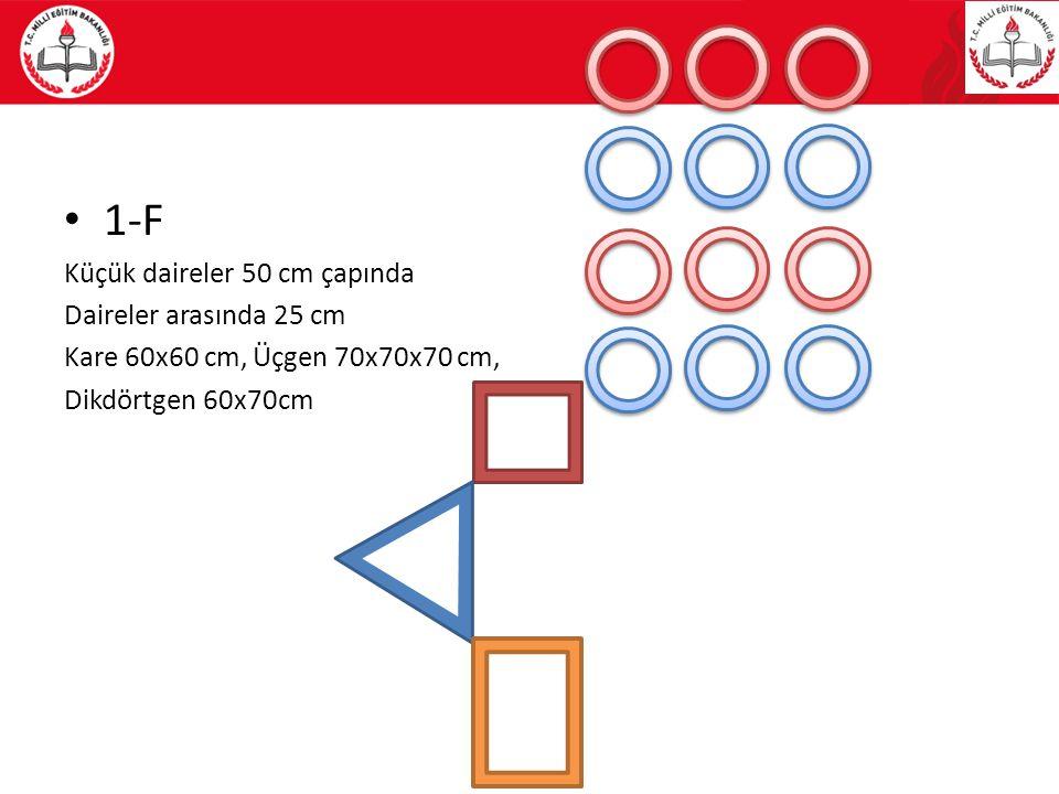 1-F Küçük daireler 50 cm çapında Daireler arasında 25 cm Kare 60x60 cm, Üçgen 70x70x70 cm, Dikdörtgen 60x70cm