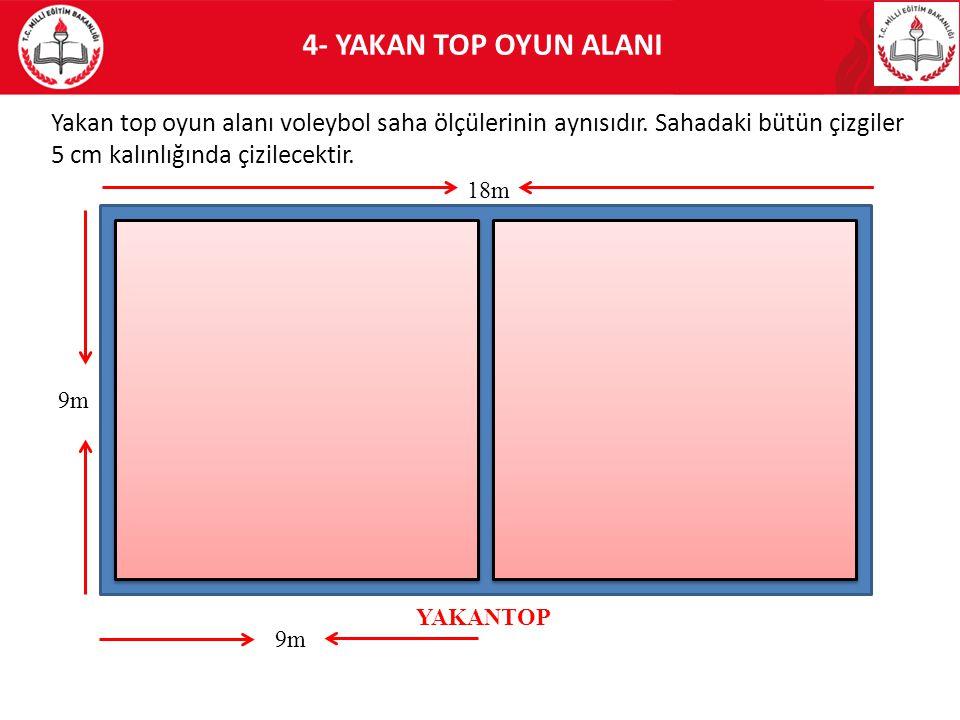4- YAKAN TOP OYUN ALANI Yakan top oyun alanı voleybol saha ölçülerinin aynısıdır. Sahadaki bütün çizgiler 5 cm kalınlığında çizilecektir. 18m 9m YAKAN