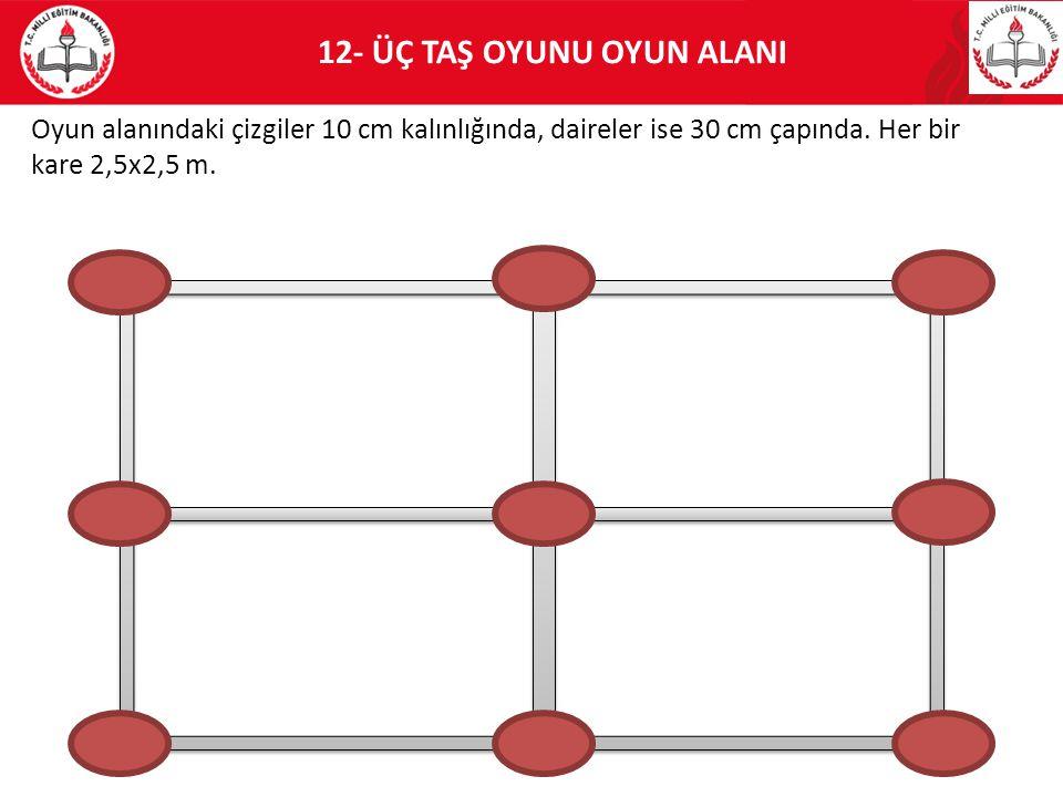 12- ÜÇ TAŞ OYUNU OYUN ALANI Oyun alanındaki çizgiler 10 cm kalınlığında, daireler ise 30 cm çapında. Her bir kare 2,5x2,5 m.