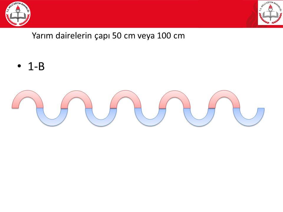 Yarım dairelerin çapı 50 cm veya 100 cm 1-B