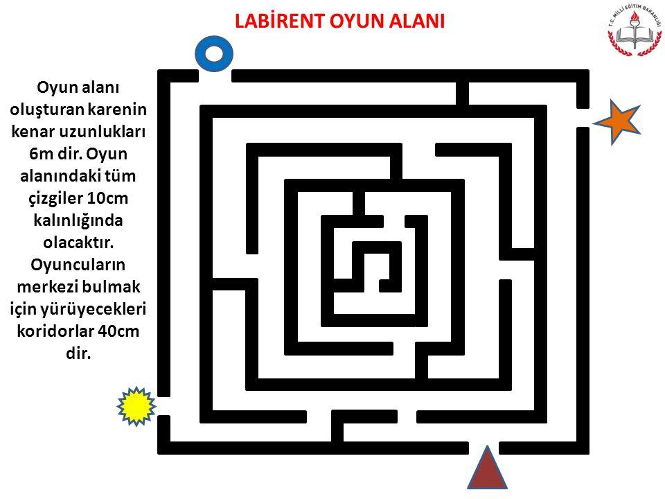LABİRENT OYUN ALANI Oyun alanı oluşturan karenin kenar uzunlukları 6m dir. Oyun alanındaki tüm çizgiler 10cm kalınlığında olacaktır. Oyuncuların merke