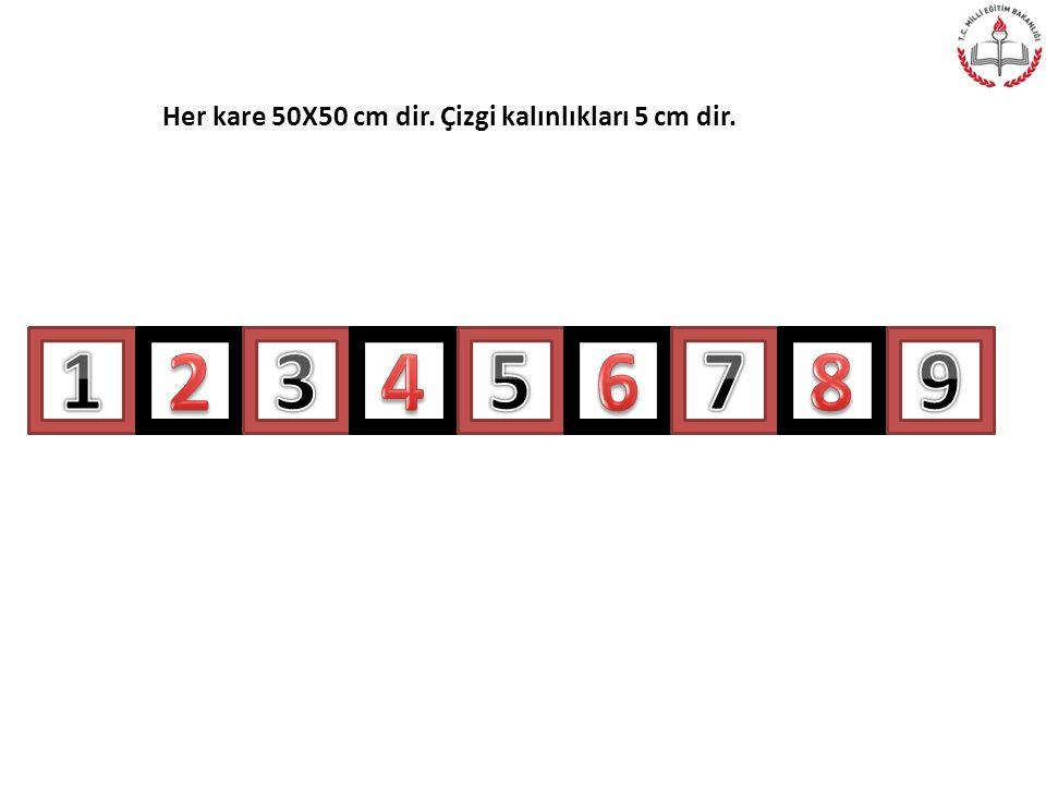 Her kare 50X50 cm dir. Çizgi kalınlıkları 5 cm dir.