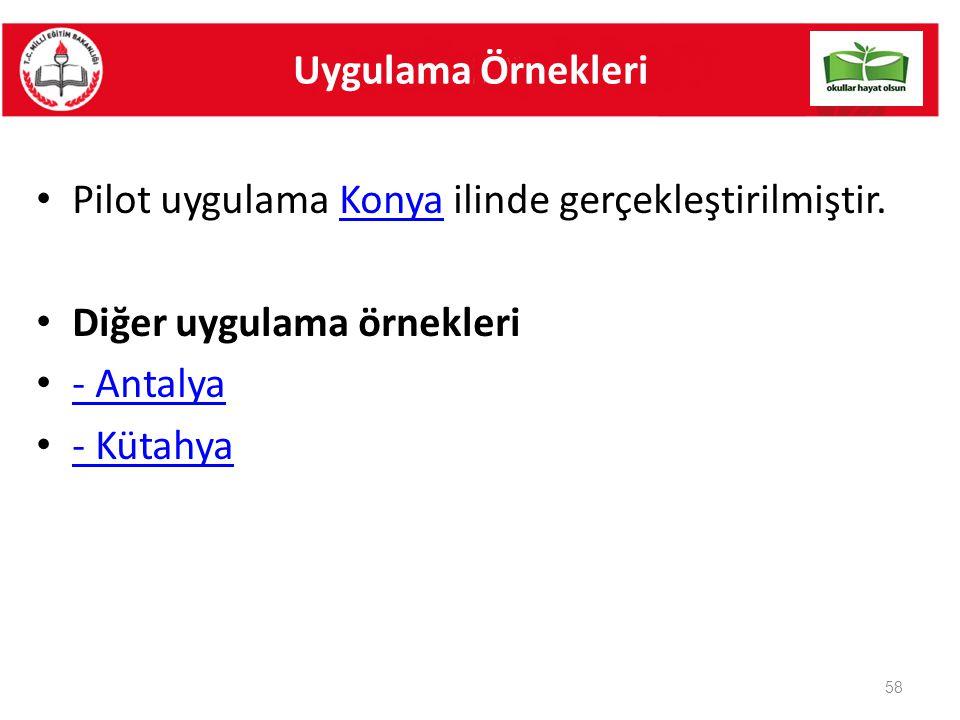 Pilot uygulama Konya ilinde gerçekleştirilmiştir.Konya Diğer uygulama örnekleri - Antalya - Kütahya 58 Uygulama Örnekleri