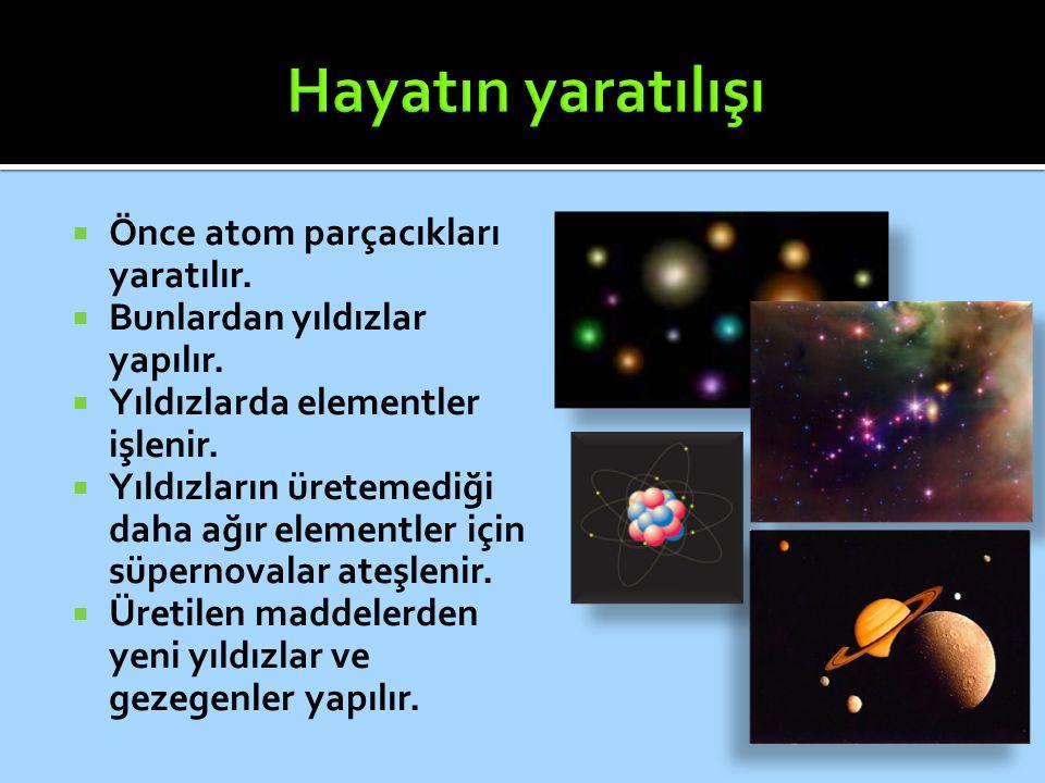  Önce atom parçacıkları yaratılır.  Bunlardan yıldızlar yapılır.  Yıldızlarda elementler işlenir.  Yıldızların üretemediği daha ağır elementler iç