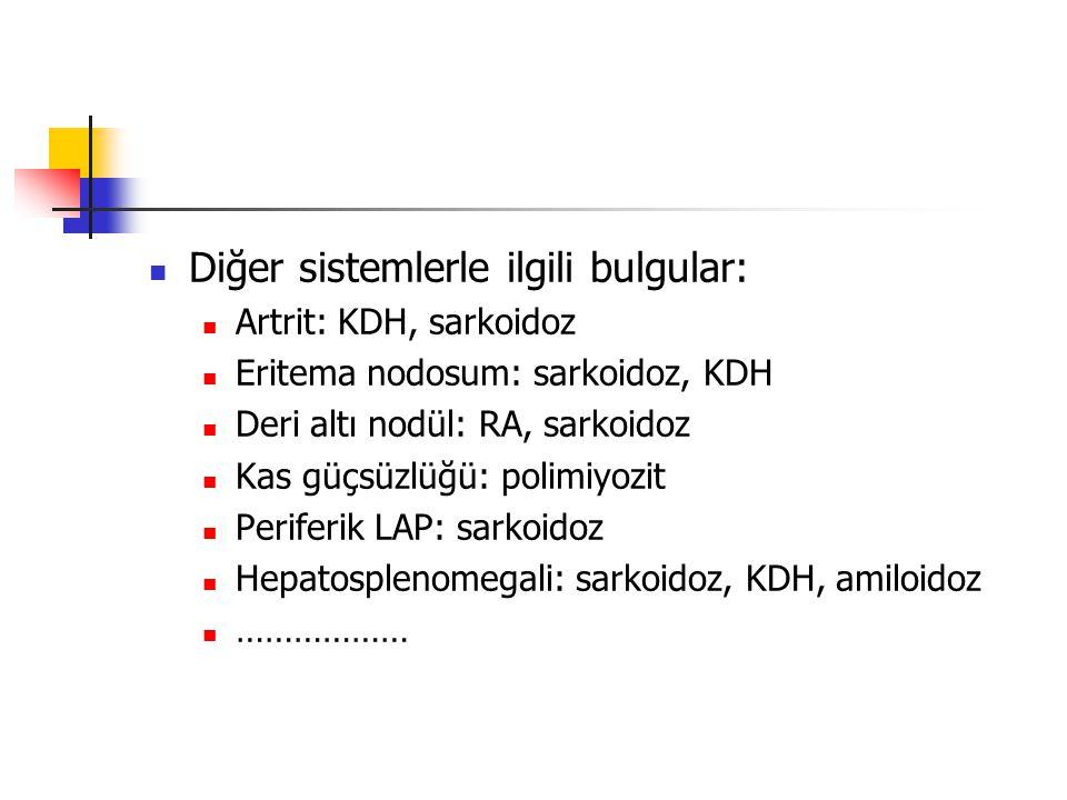 Diğer sistemlerle ilgili bulgular: Artrit: KDH, sarkoidoz Eritema nodosum: sarkoidoz, KDH Deri altı nodül: RA, sarkoidoz Kas güçsüzlüğü: polimiyozit Periferik LAP: sarkoidoz Hepatosplenomegali: sarkoidoz, KDH, amiloidoz ………………