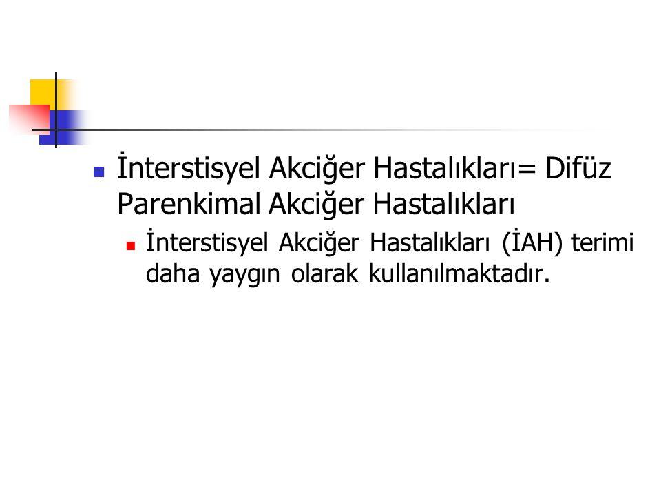 Sınıflama 1-Nedeni bilinen İAH Mesleksel Çevresel İlaca bağlı Kalıtsal 2-Bağ dokusu hastalıklarının akciğer tutulumu (örn.RA, SSc, SLE, DM/PM, AS) 3-Granülomatöz İAH-(örn.sarkoidoz) 4-İdyopatik interstisyel pnömoniler 5-Diğer LGHH LAM KEP Vaskülitler …………