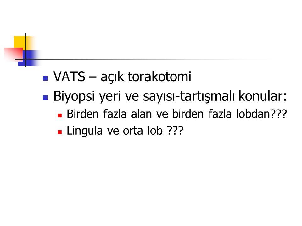 VATS – açık torakotomi Biyopsi yeri ve sayısı-tartışmalı konular: Birden fazla alan ve birden fazla lobdan??? Lingula ve orta lob ???