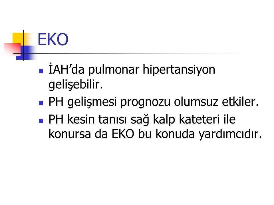 EKO İAH'da pulmonar hipertansiyon gelişebilir. PH gelişmesi prognozu olumsuz etkiler. PH kesin tanısı sağ kalp kateteri ile konursa da EKO bu konuda y