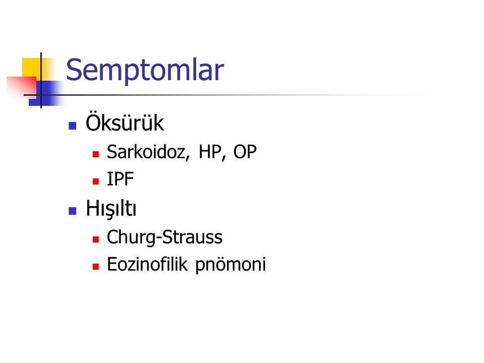 Semptomlar Öksürük Sarkoidoz, HP, OP IPF Hışıltı Churg-Strauss Eozinofilik pnömoni