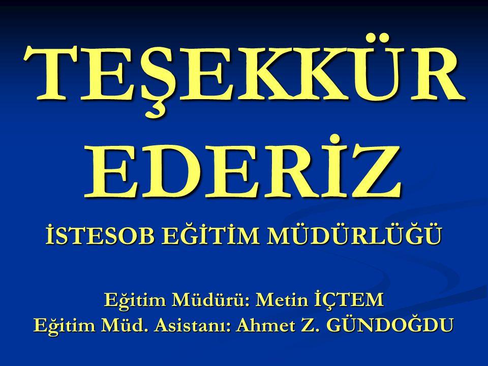 TEŞEKKÜR EDERİZ İSTESOB EĞİTİM MÜDÜRLÜĞÜ Eğitim Müdürü: Metin İÇTEM Eğitim Müd. Asistanı: Ahmet Z. GÜNDOĞDU