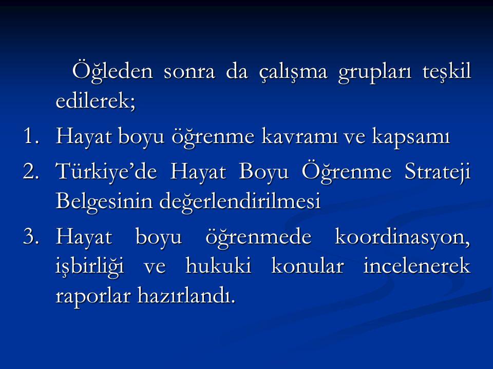 Öğleden sonra da çalışma grupları teşkil edilerek; 1.Hayat boyu öğrenme kavramı ve kapsamı 2.Türkiye'de Hayat Boyu Öğrenme Strateji Belgesinin değerle