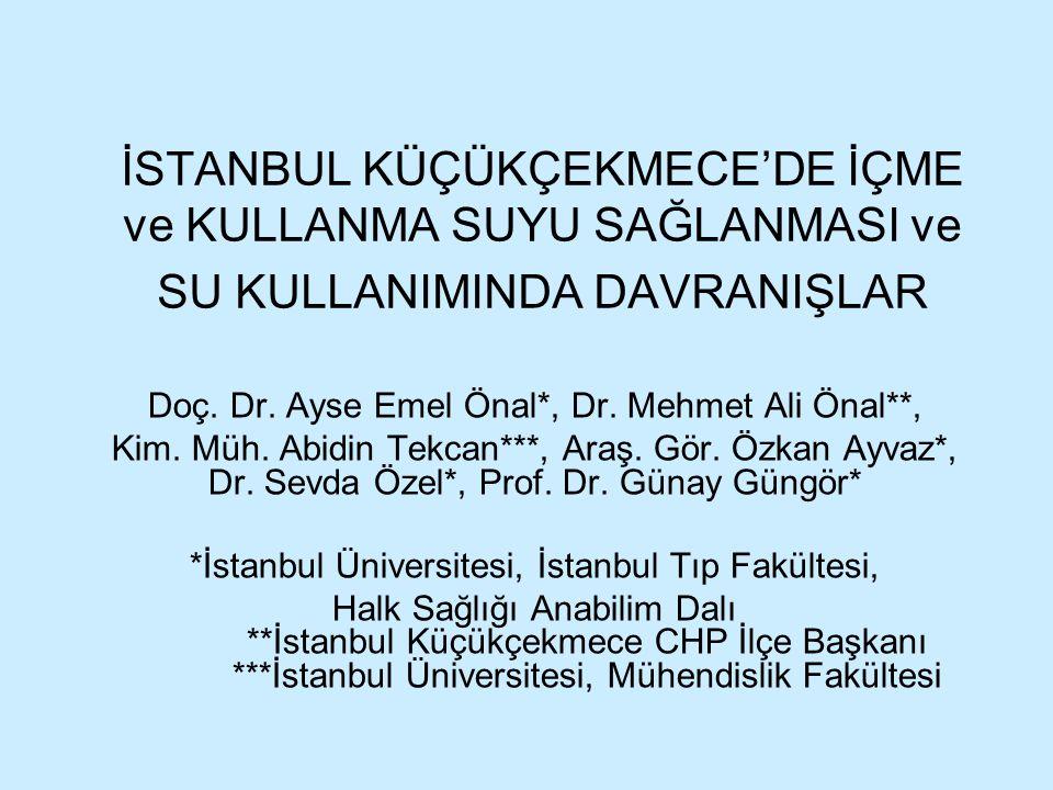 İSTANBUL KÜÇÜKÇEKMECE'DE İÇME ve KULLANMA SUYU SAĞLANMASI ve SU KULLANIMINDA DAVRANIŞLAR Doç. Dr. Ayse Emel Önal*, Dr. Mehmet Ali Önal**, Kim. Müh. Ab