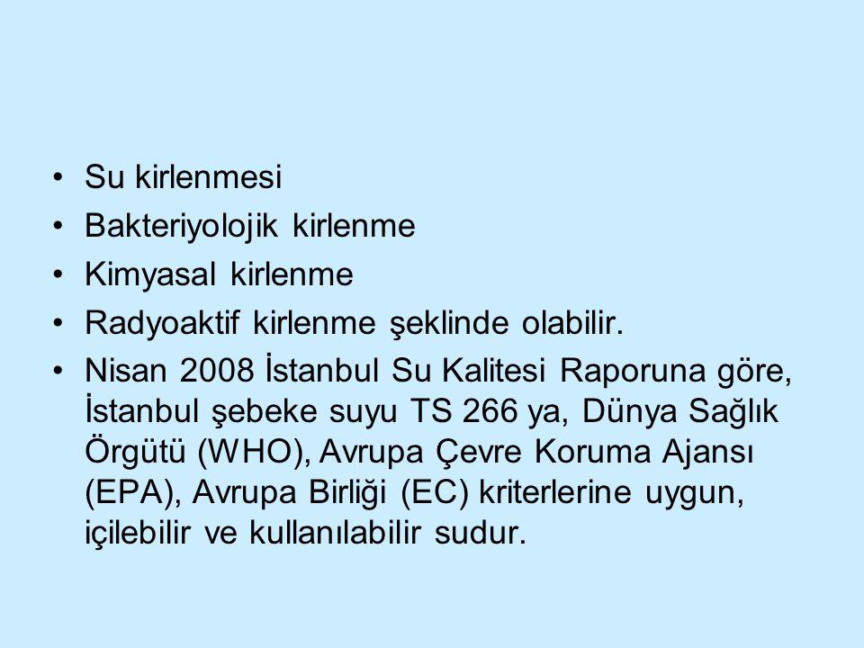 Su kirlenmesi Bakteriyolojik kirlenme Kimyasal kirlenme Radyoaktif kirlenme şeklinde olabilir. Nisan 2008 İstanbul Su Kalitesi Raporuna göre, İstanbul