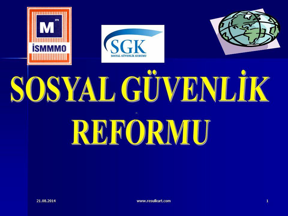 21.08.2014www.resulkurt.com32 SGDP UYGULAMASI SGDP UYGULAMASI İlk Defa Reformdan Önce Sigortalı Olanlarda 5510 sayılı Yasanın Yürürlüğe Girmesinden Sonra SGDP Uygulaması İlk Defa Reformdan Önce Sigortalı Olanlarda 5510 sayılı Yasanın Yürürlüğe Girmesinden Sonra SGDP Uygulaması 5510 sayılı Kanunun 4 / (a) bendi kapsamında (SSK'lı) çalışanlar için sosyal güvenlik destek primi prime esas kazançlar üzerinden kısa vadeli sigorta kolları prim oranına yüzde 30 oranının eklenmesi suretiyle bulunan toplamdır.