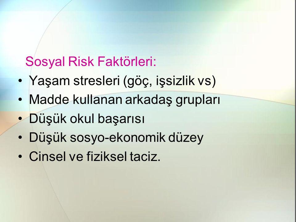 Sosyal Risk Faktörleri: Yaşam stresleri (göç, işsizlik vs) Madde kullanan arkadaş grupları Düşük okul başarısı Düşük sosyo-ekonomik düzey Cinsel ve fiziksel taciz.