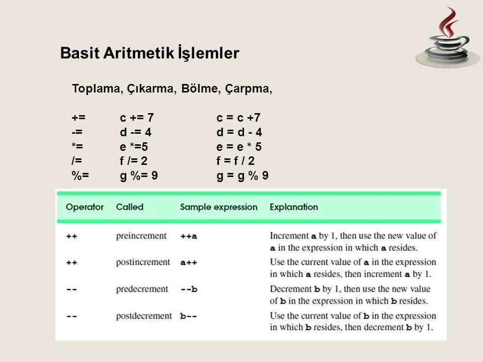Toplama, Çıkarma, Bölme, Çarpma, +=c += 7c = c +7 -=d -= 4d = d - 4 *=e *=5e = e * 5 /=f /= 2f = f / 2 %= g %= 9g = g % 9 Basit Aritmetik İşlemler