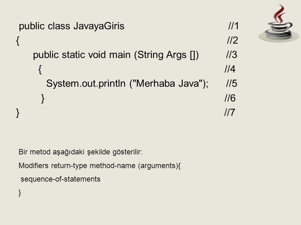 Bir java programı tek bir main metodu içermelidir.