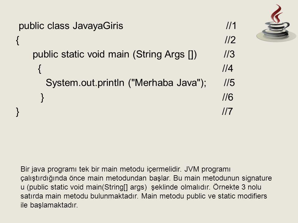 Bir java programı tek bir main metodu içermelidir. JVM programı çalıştırdığında önce main metodundan başlar. Bu main metodunun signature u (public sta