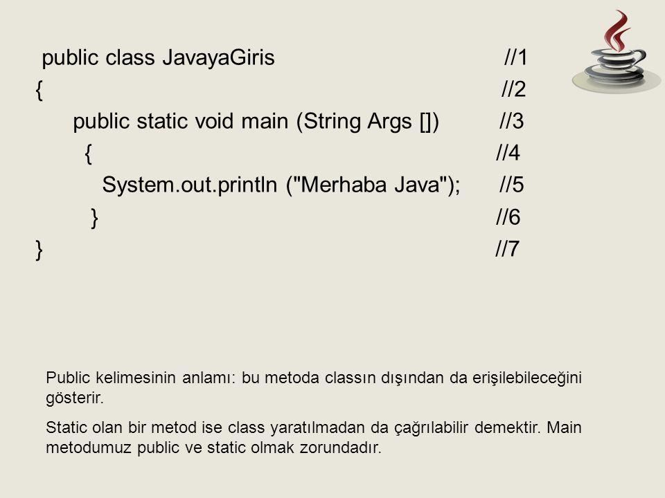 Public kelimesinin anlamı: bu metoda classın dışından da erişilebileceğini gösterir. Static olan bir metod ise class yaratılmadan da çağrılabilir deme