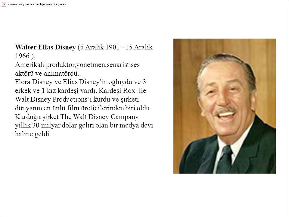 Walter Ellas Disney (5 Aralık 1901 –15 Aralık 1966 ), Amerikalı prodüktör,yönetmen,senarist.ses aktörü ve animatördü.. Flora Disney ve Elias Disney'in