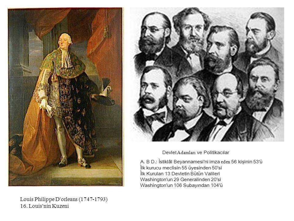Louis Philippe D'orleans (1747-1793) 16. Louis'nin Kuzeni A. B D.: Ìstiklâl Beyannamesi'ni imza eden 56 kişinin 53'ü Ìlk kurucu meclisin 55 üyesinden