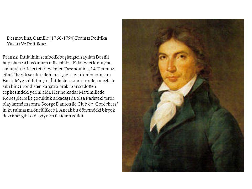 Desmoulins, Camille (1760-1794) Fransız Politika Yazarı Ve Politikacı Fransız İhtilalinin sembolik başlangıcı sayılan Bastill hapishanesi baskınının m