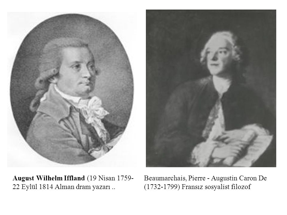 Beaumarchais, Pierre - Augustin Caron De (1732-1799) Fransız sosyalist filozof August Wilhelm Iffland (19 Nisan 1759- 22 Eylül 1814 Alman dram yazarı.